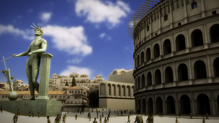 Digital rendering of Colossus statue near Colosseum.