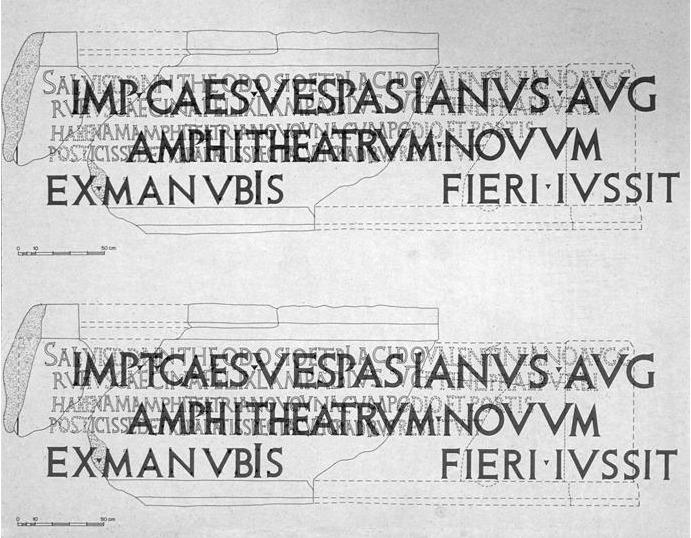 Rome. Colosseum. Original dedication inscription. Reconstruction.
