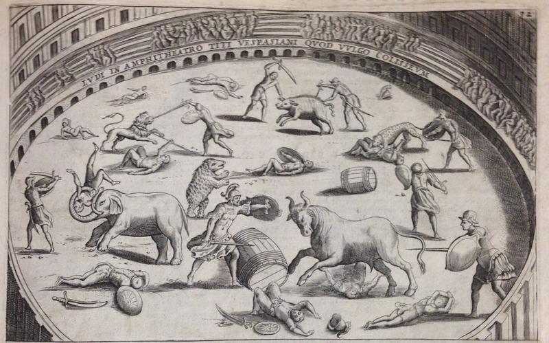 Lauro illustration of Colosseum animal hunt.