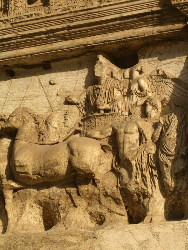 Arch for Titus, detail Titus in triumph