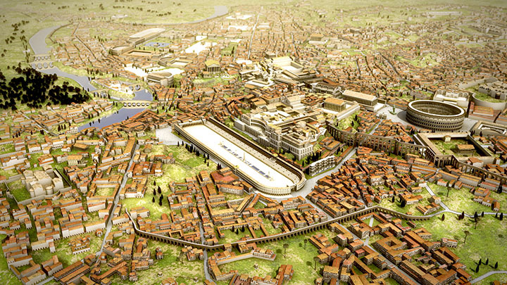 Digital rendering of the ancient Roman city scape