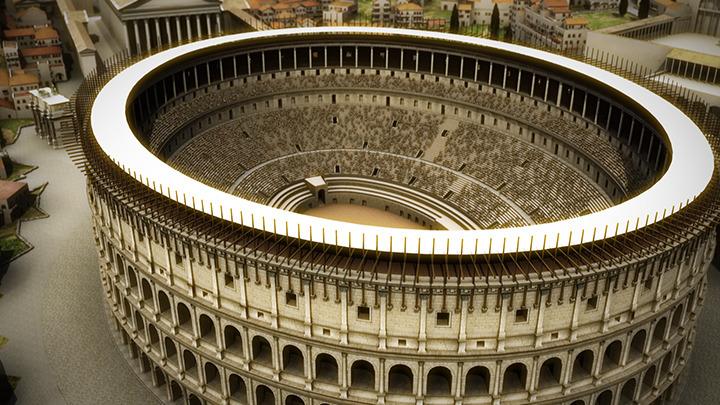 """Digital rendering of the Colosseum's """"vela""""."""