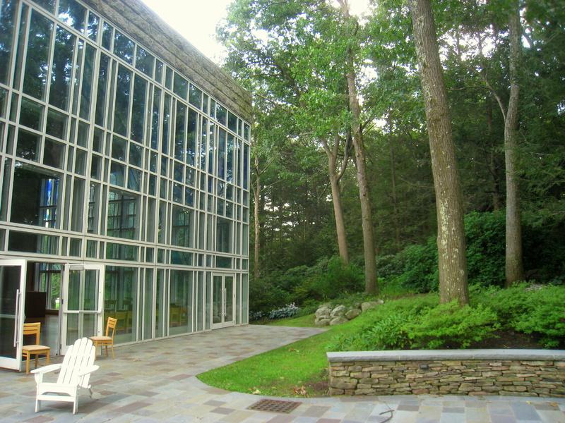 Glavin Family Chapel exterior with the Connolly Reflective Garden